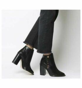 Office Affluent- Cupped Heel Side Zip Boot BLACK SNAKE ROSE GOLD HARDWARE