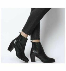 Office Aberdeen- Unlined Block Heel Boot BLACK LEATHER