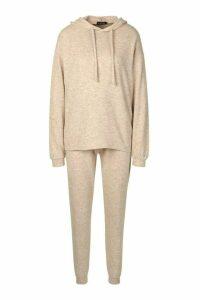 Womens Brushed Jersey Marl Lounge Hoodie - beige - 16, Beige