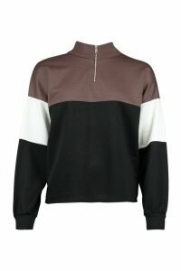 Womens Petite Colour Block Zip Up Sweat Top - grey - 14, Grey