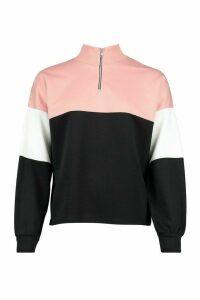 Womens Petite Colour Block Zip Up Sweat Top - pink - 8, Pink