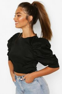 Womens Petite Cotton Poplin Puff Ball Sleeve Top - black - 8, Black