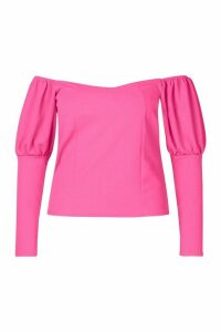 Womens Plus Off Shoulder Puff Sleeve Fitted Top - Pink - 20, Pink