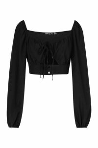 Womens Petite Volume Sleeve Tie Front Top - black - 14, Black