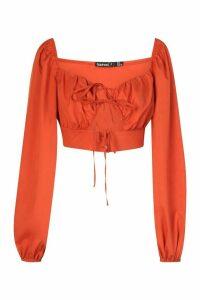 Womens Petite Volume Sleeve Tie Front Top - orange - 14, Orange