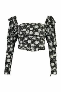 Womens Petite Daisy Print Ruched Top - black - 14, Black
