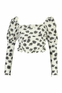 Womens Petite Daisy Print Ruched Top - White - 14, White