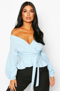 Womens Petite Off The Shoulder Blouse - Blue - 6, Blue