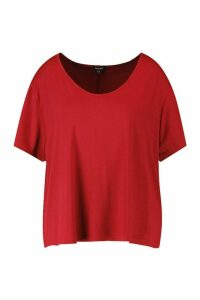 Womens Plus Super Soft Oversized Basic T-Shirt - Red - 20, Red