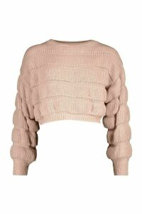 Womens Petite Bubble Knit Jumper - Pink - M, Pink