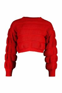 Womens Petite Bubble Knit Jumper - Red - L, Red