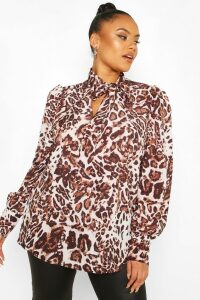 Womens Plus Leopard Snake Pussybow Blouse - brown - 20, Brown