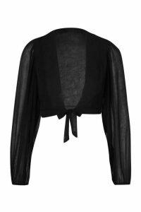 Womens Petite Textured Fabric Volume Sleeve Top - Black - 14, Black