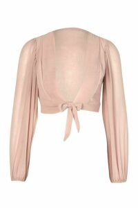 Womens Petite Textured Fabric Volume Sleeve Top - pink - 12, Pink