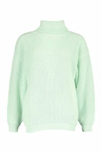 Womens Petite Volume Sleeve Jumper - Green - M, Green