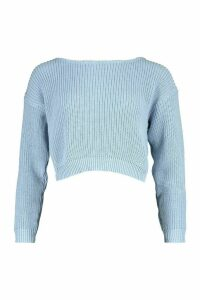 Womens Petite Slash Neck Cropped Jumper - blue - M, Blue
