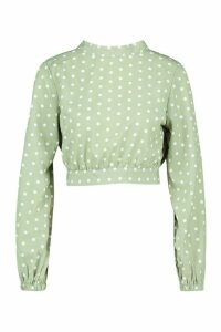 Womens Petite High Neck Tie Back Spot Blouse - green - 16, Green