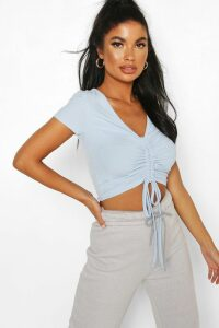 Womens Petite Ribbed Ruched Detail Top - Blue - 4, Blue