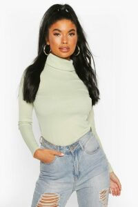 Womens Petite Rib Long Sleeved Roll/Polo Neck Top - Green - 6, Green