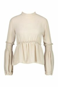 Womens Woven Shirred Balloon Sleeve Blouse - Beige - 6, Beige