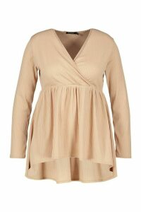 Womens Plus Wrap Dipped Back Tunic Jersey - beige - 20, Beige