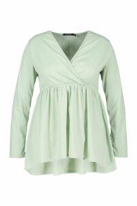 Womens Plus Wrap Dipped Back Tunic Jersey - green - 18, Green