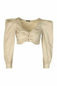 Womens Petite Poplin Volume Sleeve Button Front Crop Top - cream - 14, Cream
