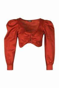 Womens Petite Poplin Volume Sleeve Button Front Crop Top - orange - 14, Orange