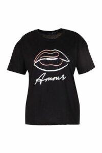 Womens Plus Amour Lipst-Shirt - Black - 18, Black