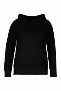 Womens Plus Knitted Oversized Hoodie - Black - 24-26, Black