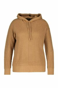 Womens Plus Knitted Oversized Hoodie - Beige - 24-26, Beige