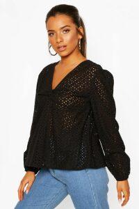 Womens Petite Broderie Twist Front Puff Sleeve Top - Black - 14, Black