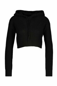 Womens Petite Knitted Cropped Hoody - black - M, Black