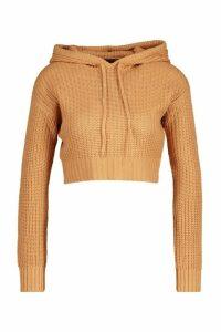 Womens Petite Knitted Cropped Hoody - beige - M, Beige