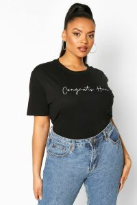 Womens Plus Congrats Hun Slogan T-Shirt - black - 20, Black