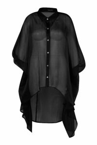 Womens Plus Oversized Organza Maxi Shirt - black - 18, Black
