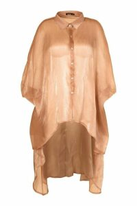 Womens Plus Oversized Organza Maxi Shirt - beige - 18, Beige