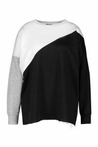 Womens Plus Colour Block Sweatshirt - black - 20, Black
