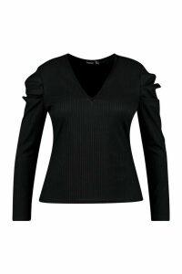 Womens Plus Rib Puff Sleeve V-Neck Top - black - 20, Black