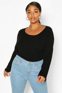 Womens Plus Crew Neck Knitted Long Sleeve Jumper - Black - 24-26, Black