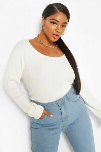 Womens Plus Crew Neck Knitted Long Sleeve Jumper - White - 24-26, White