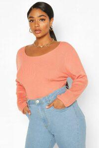 Womens Plus Crew Neck Knitted Long Sleeve Jumper - Orange - 24-26, Orange