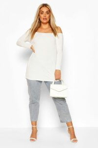 Womens Plus Basic Off Shoulder Oversized Longsleeve Top - white - 20, White