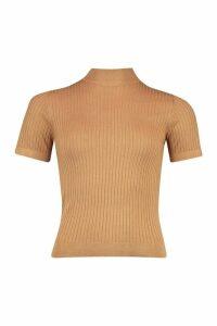 Womens Petite Short Sleeve Fine Knit Rib Jumper - beige - M, Beige