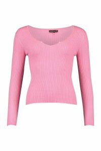 Womens Petite Cropped Notch Neck Fine Knit Rib Top - Pink - L, Pink