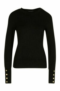 Womens Petite Button Detail Fine Knit Crew Neck Jumper - Black - M, Black