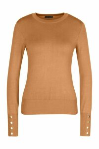 Womens Petite Button Detail Fine Knit Crew Neck Jumper - Beige - M, Beige