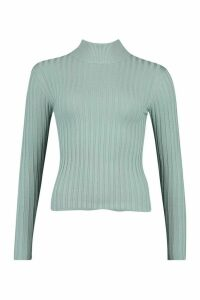 Womens Petite High Neck Fine Knit Rib Jumper - blue - M, Blue