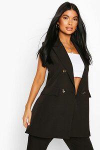 Womens Petite Double Breasted Sleeveless Blazer - black - 14, Black
