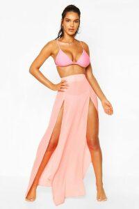 Womens Split Leg Maxi Beach Skirt - Orange - 18, Orange